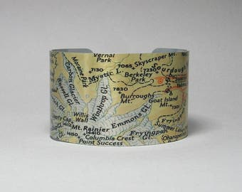 Mount Rainier National Park Cuff Bracelet Washington Map Unique Camping Hiking Gift for Men or Women