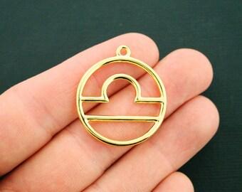 2 Libra Zodiac Pendant Charms Antique Gold Tone 2 Sided - GC1028