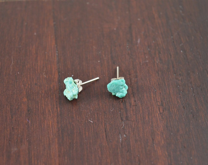 Turquoise Raw Crystal Stud Earrings