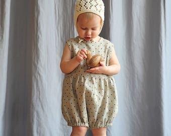 Baby / Toddler Girls Boys Natural Linen Gray Polka Dot Romper Playsuit Jumpsuit Children Spring Summer 0-3-6-9-12-18-24 months, 2T 3T