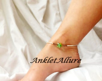 Green Starfish Ankle Bracelet Beach Anklet Cruise Jewelry Body Jewelry Copper Foot Jewelry