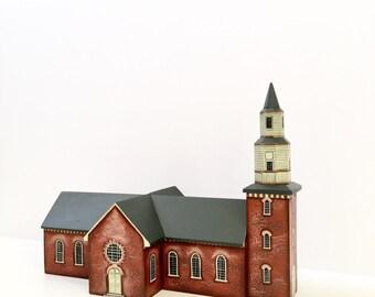 Miniature Historic Wooden Building Bruton Parrish Church Williamsburg Va Replica HandPainted Tru & Marlene Whiting 1983 Brandywine Woodcraft