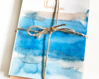 Thank You Blue River Watercolor note card set of 8