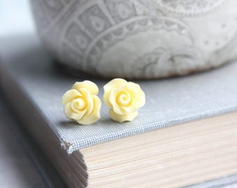 Light Yellow Rose Stud Earrings Flower Earrings Tiny Rose Stud Earrings Surgical Steel Posts Nickel Free Gift for Her Pastel Summer Jewelry