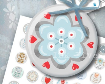 Digital collage sheet Scandinavian Flowers. Download printables 1 inch circles. Folk nordic bottle caps floral images for modern jewelry.