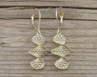 Weaved Gold Drop Earrings, Gold Hanging Earrings, Drop Earrings, Yellow Gold Earrings, Filigree Earrings, Gold Wedding Earrings, Christmas