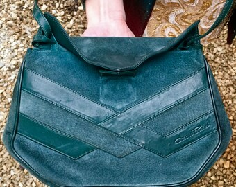 Free Shipping!: Vintage Authentic Cesare Piccini Handbag Teal Suede Leather Gold Latch Mirror Inside