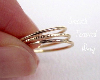 Gold rings. Gold bands, stacking rings, set of 3 rings in 14k gold filled, sterling silver or solid gold. Textured rings.