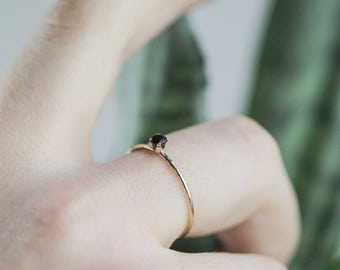 gold smooth black 3.0 ring / 3mm black spinel 14k yellow gold filled ring / delicate layering stacking ring / hart and stone