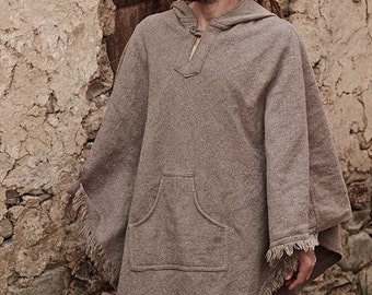 Thick Wool Poncho with Hoodie ~ Unisex ~ Grey
