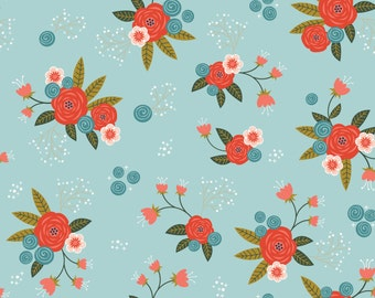 Floral in Aqua  2240801-2  - HAPPY THOUGHTS  - by Alisse Courter for Camelot Cotton Fabrics