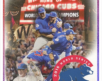 Chicago Cubs - World Series Champions - 8x10, 11x14, 16x20 or 22x28 - Chicago Cubs World Series - Cubs fan gift - sports bar man cave decor