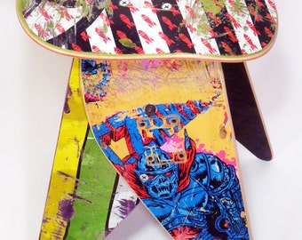 Recycled Skateboard Stool - No.596 by Deckstool. Reclaimed skateboards made into cool skater chair. Free Shipping Worldwide.