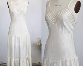 Vintage 1940s Full Length Ivory Slip / 40s Leona Slip Dress / Tea Length / Crinoline / Petticoat / Ruffled Tiered Hem