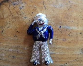 WWII Sailor Sweetheart Pin Enamel Rhinestones Pot Metal Saluting Sailor