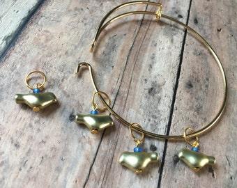 Stitch Marker Bracelet - set of 4 gold birds for your knitting project bag