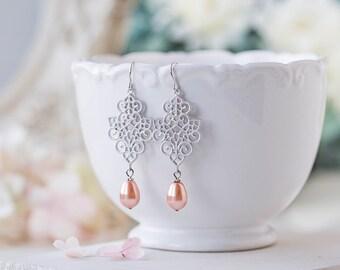 Peach Wedding Silver Bridal Earrings Lace Filigree Peach Teardrop Pearl Dangle Earrings Silver Wedding Jewelry Bridesmaid Earrings Gift