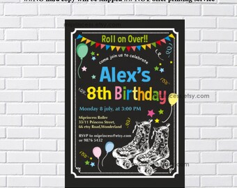Roller skating Birthday Invitation for any age, kids girl 5th 6th 7th 8th 9th 10th birthday invitation Design - card 447