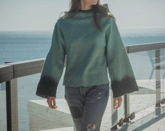 Green Wool Sweater, Womens Sweater, Hooded Sweater, Long Sleeve Top, Hooded Top, Fall Sweater, Boho Chic Clothing, Cozy Sweater,Warm Sweater