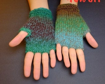 Fingerless Gloves (Fingerless Mittens, Wrist Warmers, Fingerless Mitts) - Multicolor With Green