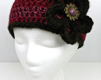 Multicolored Burgundy and Brown Crochet Ear Warmer Ski Band with Flower