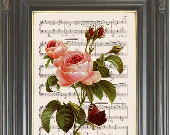 Pink rose Valentine wall art print on dictionary or music page Dictionary art print Digital art print Botanical art Wall decor  No. 2349