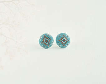 Turquoise stud earrings, ceramic jewelry, ethno, folk jewelry, gift for every budget