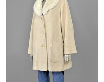 30% 0FF SALE Rabbit Fur Collar Coat Cream Wool Coat 70s Coat Womens Winter 1970s Coat Oversize Coat Cocoon Coat Swing Coat M/L