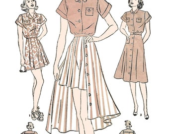 Advance 2293 Womens 40s Shirt, Skirt, and Shorts Tennis Dress Sewing Pattern Bust 32 with Newspaper clipping of Buddy Lewis