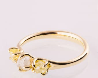 Raw Diamonds Engagement Ring, Raw Diamond Ring, Three stone ring, Rough Diamond engagement ring, three stone engagement ring
