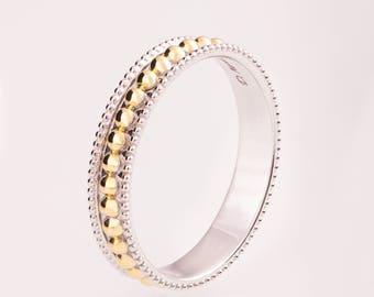 Milgrain Wedding Band, Milgrain Ring, Milgrain Band, Two Tone Wedding Band, Two Tone Milgrain Band, Two Tone Wedding Ring, wedding band r030