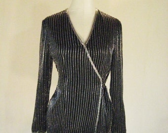 Papell Vertical Stripe Beaded Wrap Top Diva Glam