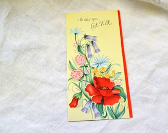 1950s NOS  Floral Get Well Card with Envelope