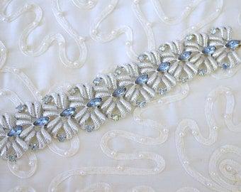 1950s Silver and Rhinestone Panel Bracelet