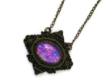 Victorian Necklace, Handmade Glass Opalite Lavender Rainbow, Filigree Art Nouveau Pendant, Renaissance Necklace, Large Pendant