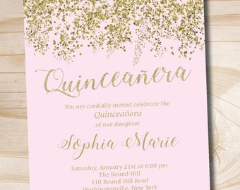 Pink and Gold Glitter Quinceanera Quince Sweet 16 Birthday  invitation - Printable Digital file or Printed Invitations