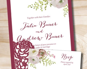 Burgundy Rose Watercolor Floral Invitation and Response card Invitation Suite