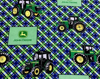 John Deere fabric, country farm tractor with green plaid fabric, 100% cotton fabric for Quilting and general sewing projects.