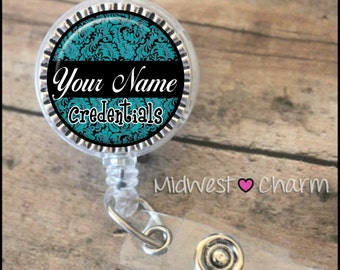 teal/black..Personalized retractable badge reel pinch...nurse.labor and delivery..lpn..rn..md..id holder..lanyard..bottlecap jewelry