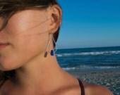 Ocean Droplet Earrings | Sea Glass Dangle Earrings | Sterling Silver Earrings | Mermaid Jewelry | Blue Sea Glass Earrings