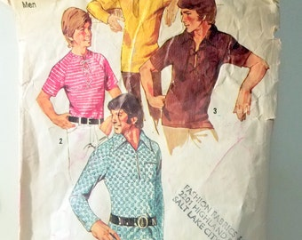 Vintage Men's Shirts Sewing Pattern Simplicity 9992 From 1971 Four Variations, one Belted Size Medium