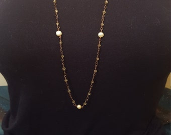 wire wrap copper and yellow crystal chain with yellow pearls
