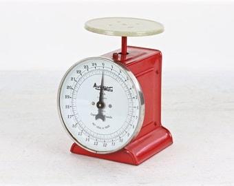 Vintage Kitchen Scale, Red Scale, Red Kitchen Scale, Old Scale, Vintage Scale, Vintage Red Scale, Rustic Decor, Farmhouse Decor