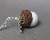 White Agate Real Acorn Charm Sterling Silver Necklace with Oak Leaf