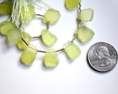 Raw Lime Green Chalcedony Top Drilled Briolettes, Smooth Polished Green Chalcedony Slice, 14x10mm