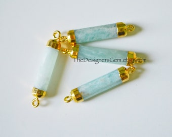 Amazonite Bar Pendant, Gold Amazonite Pendant, Amazonite Stone Bar, Gold Dipped Stone, Stone Connector 29 x 6mm
