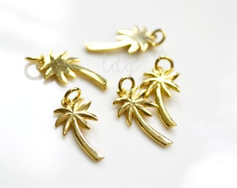 One Gold Vermeil Palm Tree Charm with Open Jump Ring 18 x 9mm