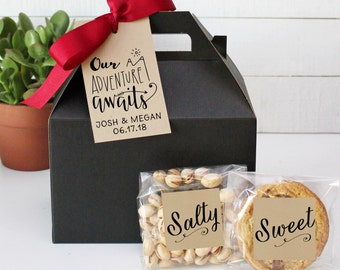 Out of Town Guest Box | Wedding Welcome Box | Wedding Welcome Bag | Out of Town Guests | Wedding Favor | Our Adventure Awaits tag - set of 6
