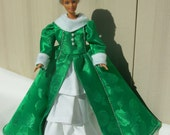Handmade Barbie Winter Christmas Holiday Dress Gown with Faux Fur Collar and Cuffs, and Silver Trim