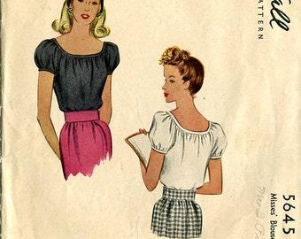 McCall's 5645 Blouse Shirt Top Sewing Pattern B30